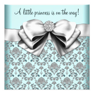 Black Teal Blue Damask Princess Baby Shower Personalized Invitations