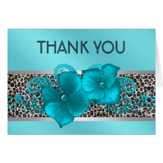 Black Teal Blue Leopard Thank You Cards