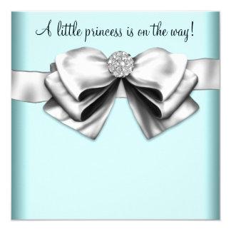 Black Teal Blue Princess Baby Shower Card