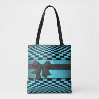 Black Teal Checkerboard Pattern Print Design Tote Bag