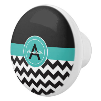 Black Teal Chevron Ceramic Knob