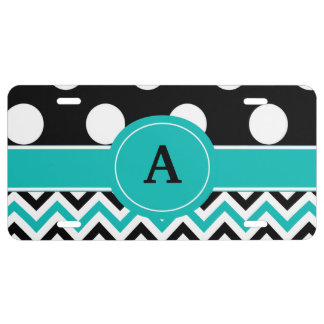Black Teal Chevron Dots Personalized License Plate