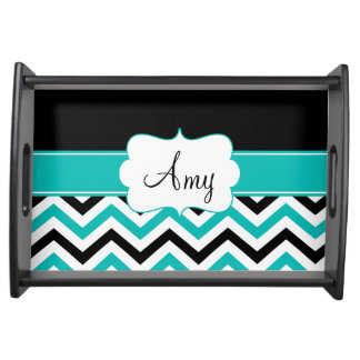 Black Teal Chevron Personalized Tray