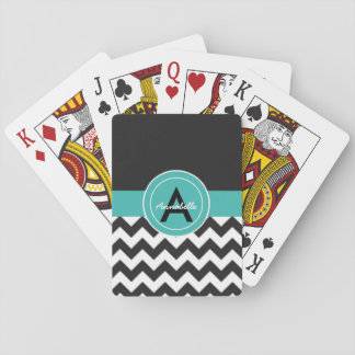 Black Teal Chevron Playing Cards