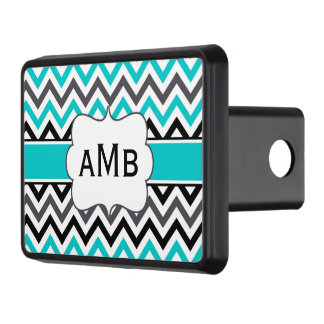 Black Teal Chevron Quatrefoil Monogram Trailer Hitch Cover