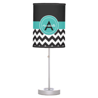 Black Teal Chevron Table Lamp