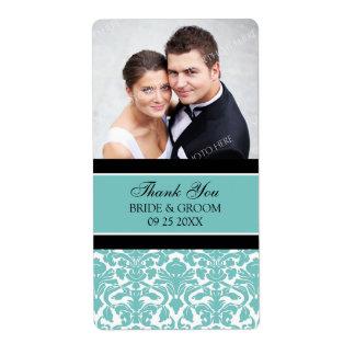 Black Teal Damask Photo Wedding Labels