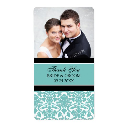 Black Teal Damask Photo Wedding Labels