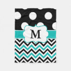 Black Teal Dots Chevron Monogram Blanket