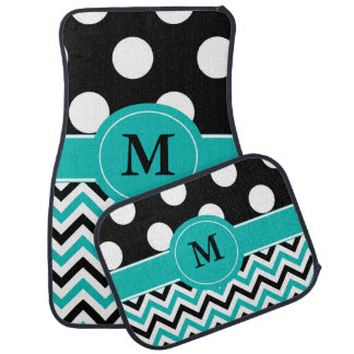 Black Teal Dots Chevron Monogram Car Mat