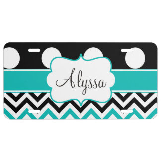 Black Teal Dots Chevron Personalized License Plate