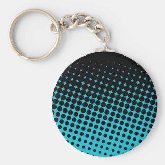 Black & Teal Halftone Polka Dots Keychain