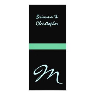 "Black & Teal Monogram Initial Wedding Invitation 4"" X 9.25"" Invitation Card"