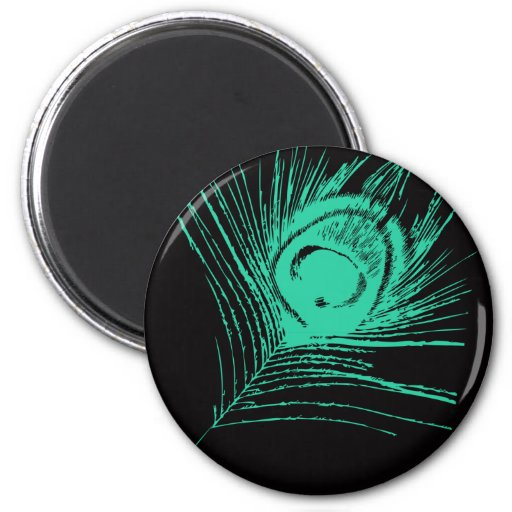 Black & Teal Peacock Feather Refrigerator Magnets