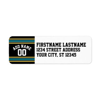 Black Teal Yellow Sports Jersey Custom Name Number Return Address Label