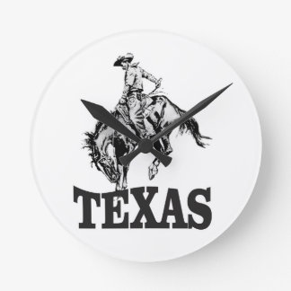 Black Texas Round Clock