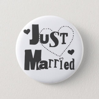 Black Text with Heart Just Married 2 Inch Round Button