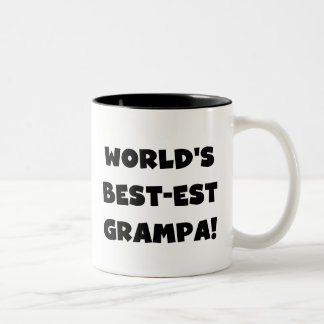 Black Text World's Best-est Grampa T-shirts Gifts Two-Tone Coffee Mug