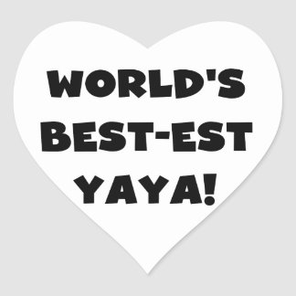 Black Text World's Best-est Yaya Gifts Heart Sticker