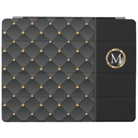 Black Texture and Gold Pattern - Monogram iPad Cover
