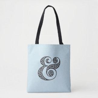 Black textured ampersand blue tote bag