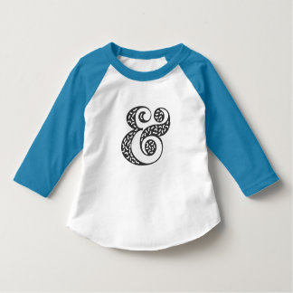 Black textured ampersand toddler sleeve raglan tee