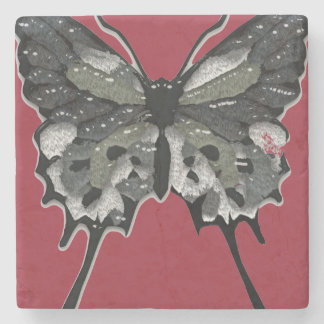 Black Textured Butterfly Stone Beverage Coaster
