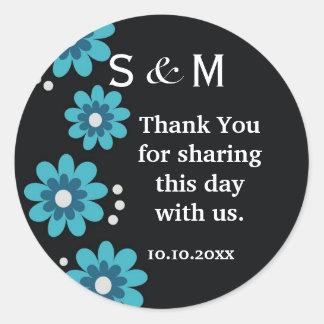 Black Thank You Monogram  Wedding Stickers