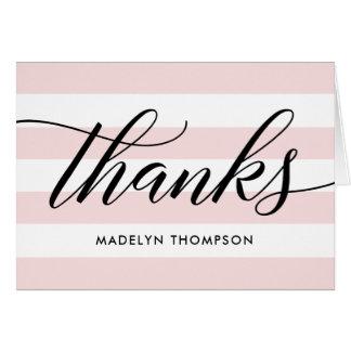 Black Thank You Notes   Pale Pink Stripes