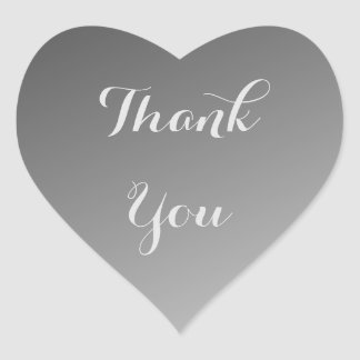 Black Thank You Ombre Heart Sticker