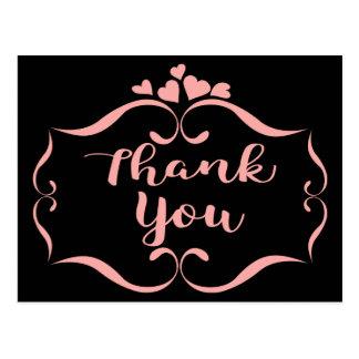 Black Thank You Pink Swirly Hearts Frame Postcard