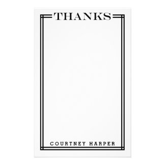 "Black ""Thanks"" Personal Stationery"