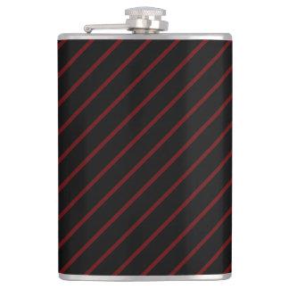 Black & Thin Red Stripes 8 oz Vinyl Wrapped Flask
