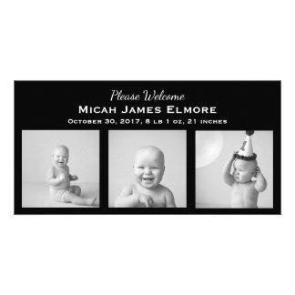 Black Three Photo Birth Announcement Photo Card