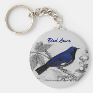 Black Throated Blue Warbler Customizable Keychain