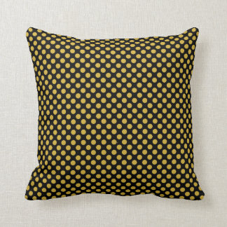 Black Throw Pillow with Gold Polka Dots