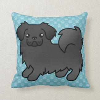 Black Tibetan Spaniel Cartoon Dog Throw Pillow