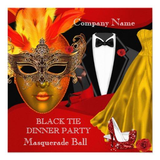 Black Tie Corporate Formal Masquerade Ball 2 Custom Announcements