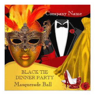 """Black Tie Corporate Formal Masquerade Ball 3 5.25"""" Square Invitation Card"""