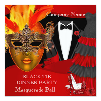 Black Tie Corporate Formal Masquerade Ball Card