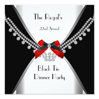 Black Tie Dinner White Red Bow Party 3 Card