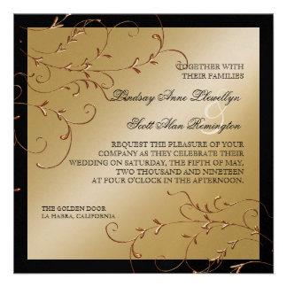 Black Tie Elegance, Golden Wedding Invitations