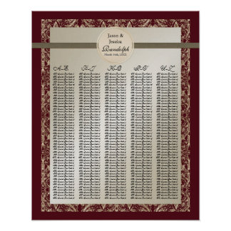 Black Tie Elegance - Reception Table Seating Chart Poster