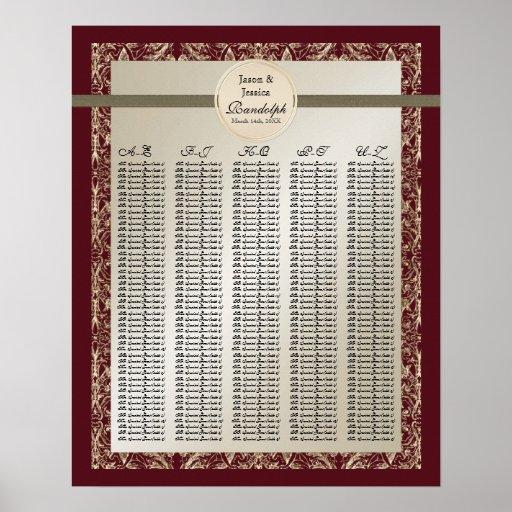 Black Tie Elegance - Reception Table Seating Chart Print