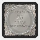 Black Tie Elegance, Silver Wedding Anniversary Square Sticker