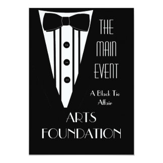 "Black Tie Fundraiser Formal Event 5"" X 7"" Invitation Card"