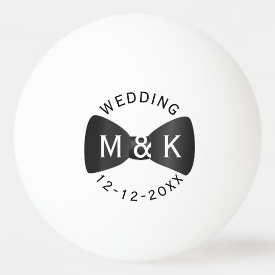 Black Tie Monogram Wedding Ping Pong Ball