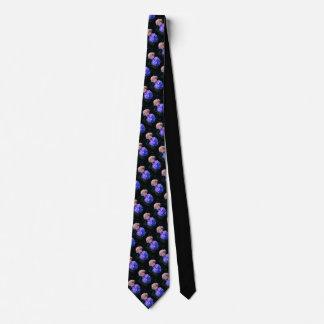 Black tie tiled blue/cream flowers