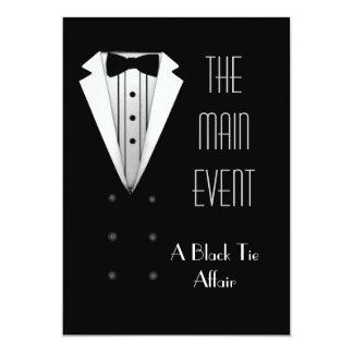 """Black Tie Tuxedo 5"""" X 7"""" Invitation Card"""