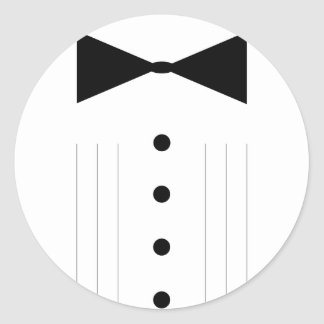 black tie tuxedo bowtie line drawing classic round sticker
